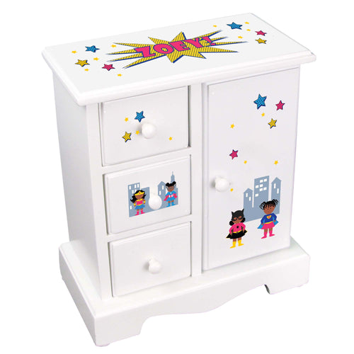 Personalized Jewelry Armoire African American Super Girls design