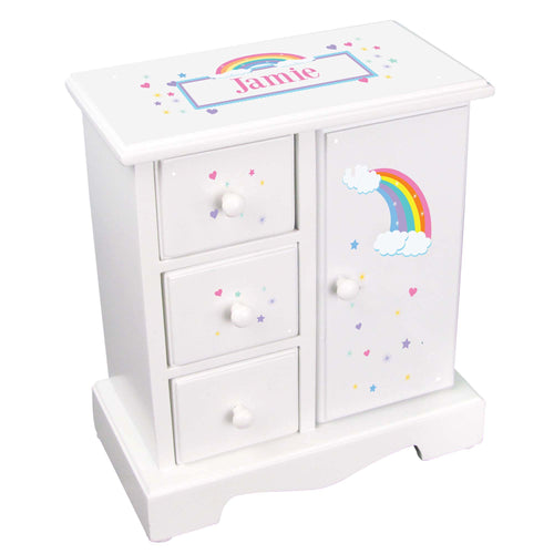 Personalized Jewelry Armoire with Rainbow Pastel design