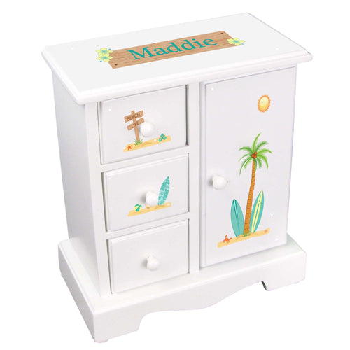 Personalized Jewelry Armoire surfer design