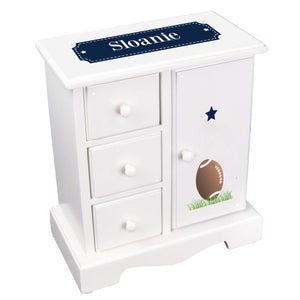 Personalized Jewelry Armoire with Footballs design