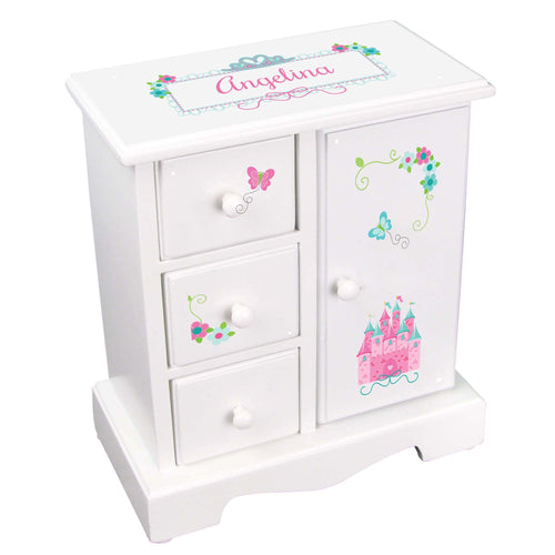 Personalized Jewelry Armoire with Pink Teal Princess Castle design