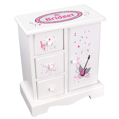 Personalized Jewelry Armoire with Pink Rock Star design