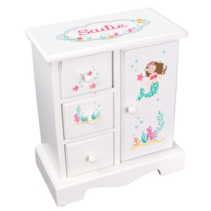 Personalized Jewelry Armoire with Brunette Mermaid Princess design