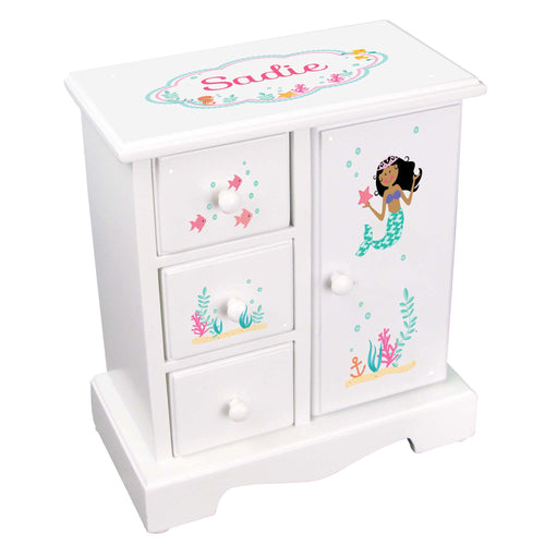 Personalized Jewelry Armoire with African American Mermaid Princess design