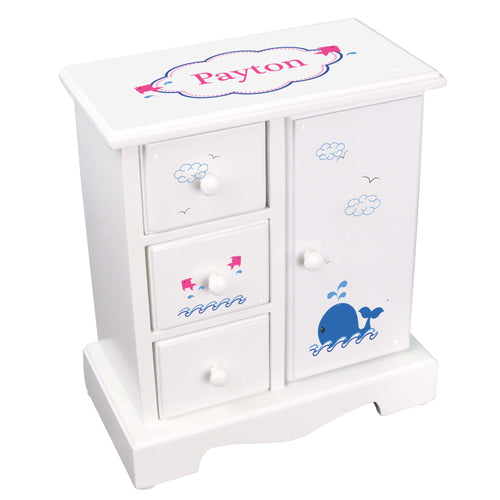 Personalized Jewelry Armoire with Pink Whale design