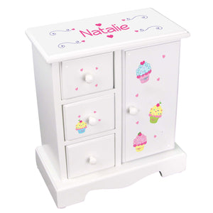Personalized Jewelry Armoire with Cupcake design