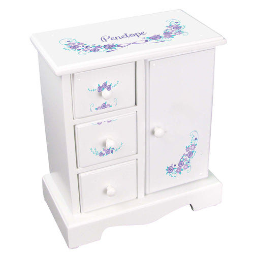 Personalized Jewelry Armoire with Lavender Floral Garland design