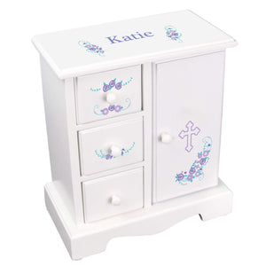 Personalized Jewelry Armoire with Holy Cross Lavender Floral Garland design