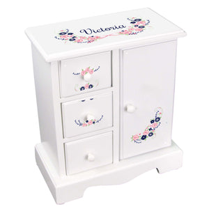 Personalized Jewelry Armoire with Navy Pink Floral Garland design