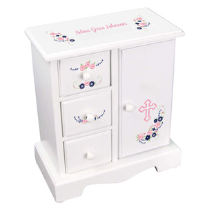 Personalized Jewelry Armoire with Holy Cross Navy Pink Floral Garland design