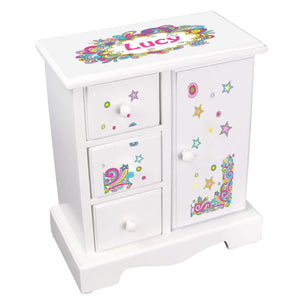 Personalized Jewelry Armoire with Groovy Swirl design