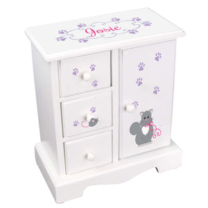 Personalized Jewelry Armoire with Kitty Cat design