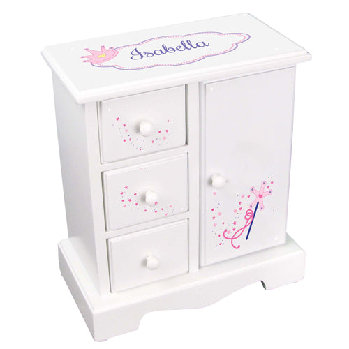 Personalized Jewelry Armoire with Fairy Princess design