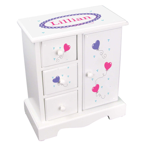 Personalized Jewelry Armoire with Heart Balloons design