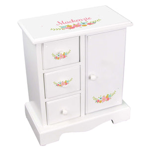 Personalized Jewelry Armoire with Spring Floral design