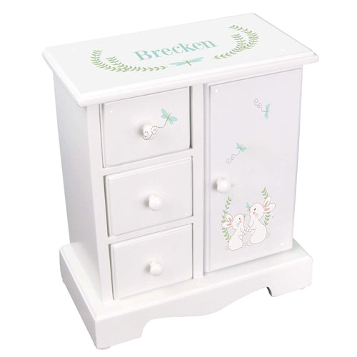 Personalized Jewelry Armoire with Classic Bunny design