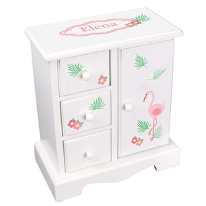 Personalized Jewelry Armoire with Pink Flamingo design