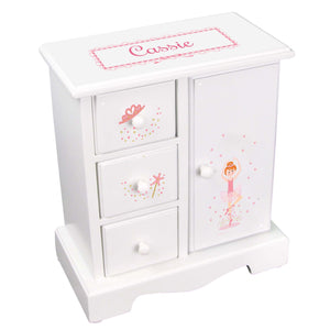 Personalized Jewelry Armoire with Ballerina Red Hair design