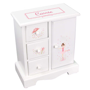 Personalized Jewelry Armoire with Ballerina Brunette design