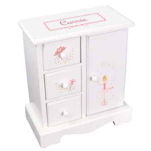 Personalized Jewelry Armoire with Ballerina Blonde design