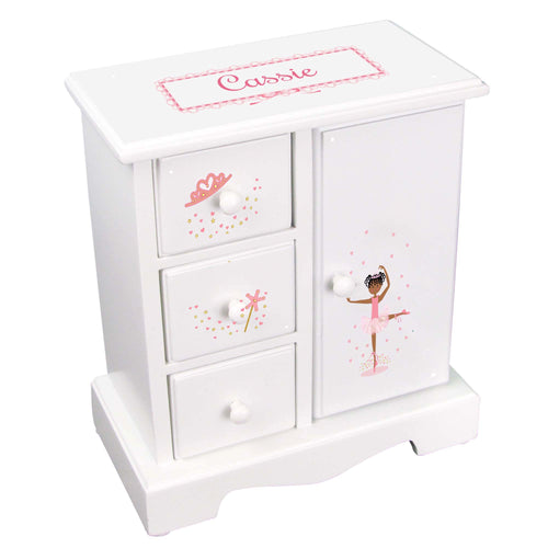Personalized Jewelry Armoire with Ballerina African American design