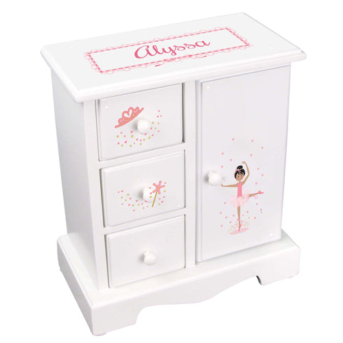 Personalized Jewelry Armoire with Ballerina Black Hair design