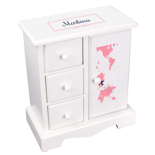 Personalized Jewelry Armoire with World Map Pink design