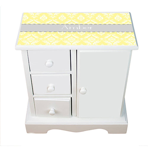Personalized Jewelry Armoire with Damask Yellow with Gray design