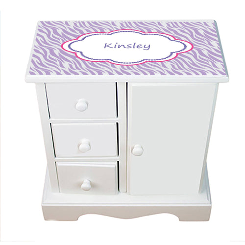 Personalized Jewelry Armoire with Lavender Zebra design
