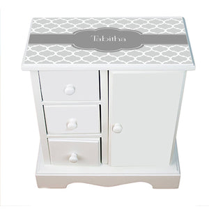 Personalized Jewelry Armoire with Moroccan Grays design