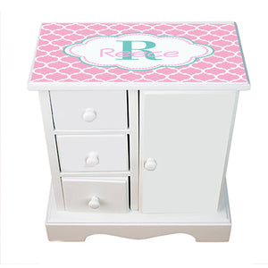 Personalized Jewelry Armoire with Moroccan Pink White and Aqua ll design