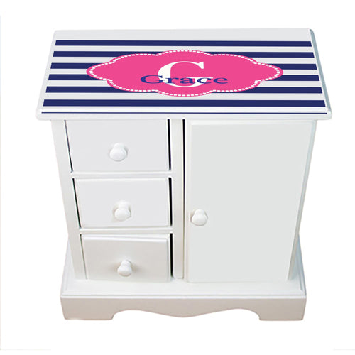 Personalized Jewelry Armoire with Blue Stripes W Hot Pink ll design