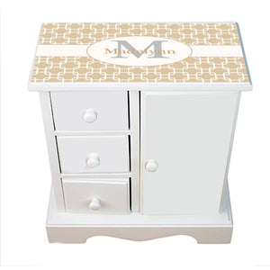 Personalized Jewelry Armoire with Beige and White Squares ll design