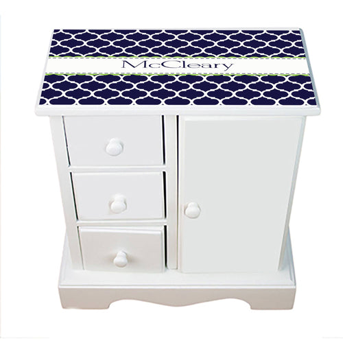 Personalized Jewelry Armoire with Navy Moroccan W Lime design
