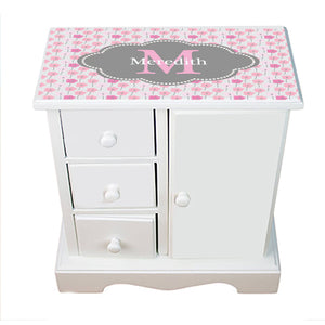 Personalized Jewelry Armoire with Poppies Pink and Gray ll design