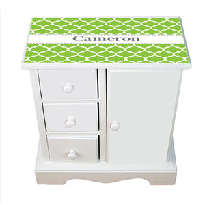 Personalized Jewelry Armoire with Moroccan Lime W White and Gray design