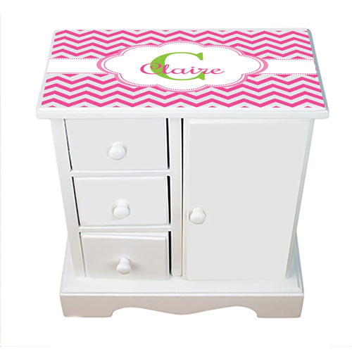 Personalized Jewelry Armoire with Hot Pink Chevron ll design