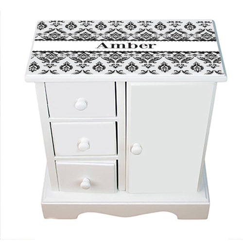 Personalized Jewelry Armoire with Black and White Damask design