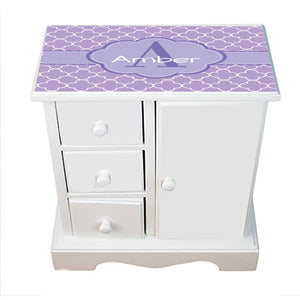 Personalized Jewelry Armoire with Lavender Florets ll design