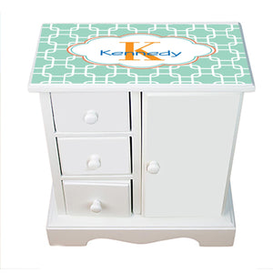 Personalized Jewelry Armoire with Aqua Squares W Coral ll design