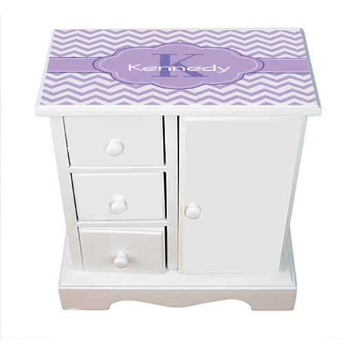 Personalized Jewelry Armoire with Lavender Chevron W Purple ll design