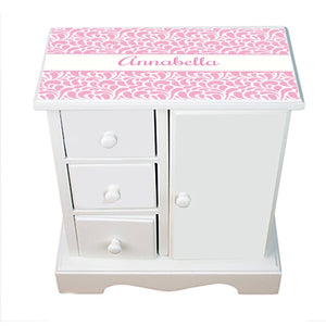 Personalized Jewelry Armoire with Pink Dancing Drops design