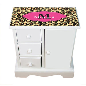 Personalized Jewelry Armoire with Cheetahlicious W Hot Pink ll design