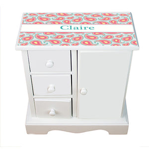 Personalized Jewelry Armoire with Paisley Aqua Coral design