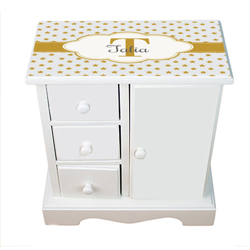Personalized Jewelry Armoire with Gold Stars ll design