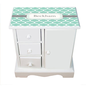 Personalized Jewelry Armoire with Aqua Moroccan Gray design