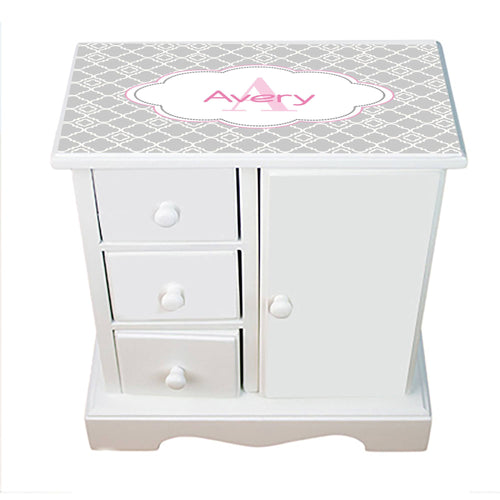 Personalized Jewelry Armoire with Gray Florets W Pink ll design