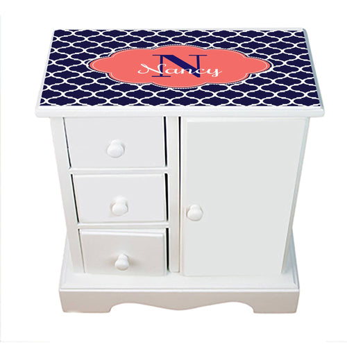 Personalized Jewelry Armoire with Navy Moroccan Coral ll design