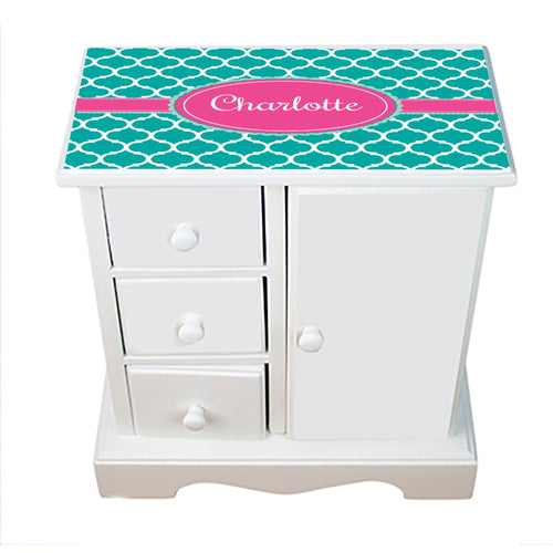 Personalized Jewelry Armoire with Teal Moroccan Hot Pink design