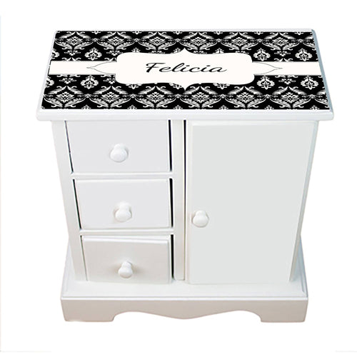 Personalized Jewelry Armoire with Black Damask design